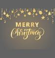 merry christmas hand written lettering golden vector image