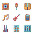 music icons set flat style vector image vector image