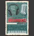 music record studio microphone sound vector image vector image