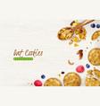 oat cookies realistic background vector image