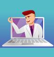 online doctor consultation concept banner cartoon vector image vector image