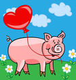 Pig cartoon with heart balloon vector image vector image