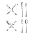 realistic metal cutlery set vector image