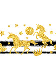 seamless pattern with unicorns and gold glitter vector image vector image