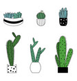 set of cute cartoon style colorful plant vector image vector image