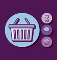 shopping basket with set icons vector image vector image