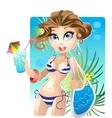 summer pretty girl on the beach vector image