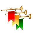 trumpets with colorful flags isolated on white vector image vector image