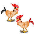 two animated cartoon plucked rooster with black vector image
