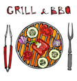 vegetarian grill vegetable bbq picnic and vector image vector image