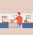 watch video recipe man cooking at kitchen using vector image