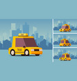 yellow taxi car on city landscape background vector image vector image