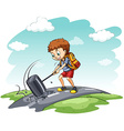 Young boy hammering the road vector image