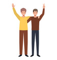 young men with hands up avatar character vector image