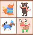 set of posters with animals vector image