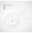 Background with drawing gears vector image