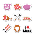 Pig pork meat - ham and bacon labels icons set vector image