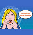 a teenage girl flossing her teeth vector image