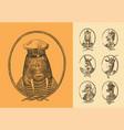 animal characters set sailor walrus llama deer vector image vector image