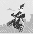 bandit on motorcycle with pistol comic style vector image vector image
