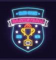 basketball sport club badge neon design vector image vector image