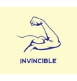 bicep strong with invincible text flat vector image vector image