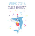 birthday card with shark isolated on white vector image