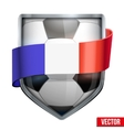 Bright shield in the football ball inside with vector image vector image