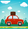 car with a suitcase is driving along the road vector image vector image