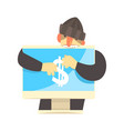 cartoon hacker character stealing money from a vector image