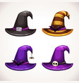 cartoon witch hat colorful icons set halloween vector image vector image
