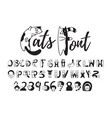 cats font cute black and white alphabet numbers vector image vector image