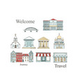 city places set with buildings in flat design vector image vector image