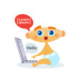 cute baby boy using laptop computer toddler happy vector image vector image