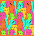 cute colorful doodle cats pattern vector image
