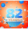 Eighty two years anniversary celebration on orange vector image vector image