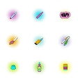 Electronic smoking cigarette icons set vector image vector image