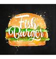 Fish burger chalk vector image vector image