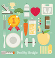 flat of icons for fitness and diet vector image vector image