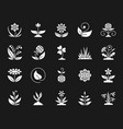 garden white silhouette icons set on black vector image vector image