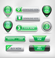 Green Glossy Web Elements Button Set vector image vector image