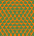 Green papaya leaf pattern in orange background vector image vector image