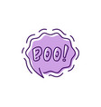 halloween message boo bubble moans vector image vector image