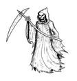 hand drawing halloween grim reaper vector image