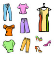 hand drawn fashion icon set vector image