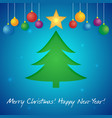 happy new year greeting card with a christmas tree vector image vector image