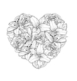 heart decorated by flowers roses and lilies vector image vector image