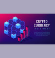 isometric cryptocurrency investment landing page vector image vector image