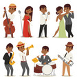 jazz music band flat group cartoon musician people vector image vector image