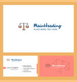 justice logo design with tagline front and back vector image vector image